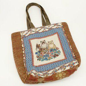 Vintage Handmade Fabric Cat Tote Bag